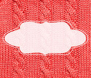 Red knitted frame background Royalty Free Stock Photography