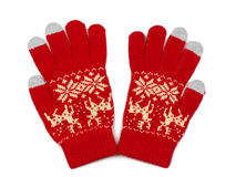 Red knitted gloves Stock Image