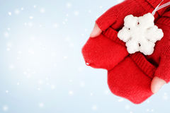 Red knitted gloves Stock Photo