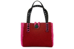 Red knitted handbag. Royalty Free Stock Photography