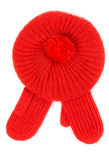 Red knitted hat with pamponom with gloves Royalty Free Stock Photo
