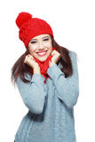 Red knitted hat and scarf smiling Royalty Free Stock Image