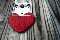 The red knitted heart is clutched by a mousetrap. The concept of. Fatal love. Difficult personal relationships Stock Image