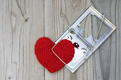 The red knitted heart is clutched by a mousetrap. The concept of. Fatal love. Difficult personal relationships Stock Images