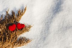Red Knitted Hearts for Valentine`s Day royalty free stock image