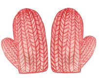 Red knitted mittens. watercolor illustration for design royalty free illustration