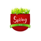 Red knitted pocket with Hello Spring Stock Images