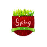 Red knitted pocket with Spring is coming Stock Images