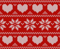 Red Knitted stars sweater in Norwegian style.  Stock Images
