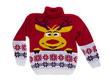 Red knitted sweater with a deer. Royalty Free Stock Images