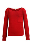 Red knitted sweater. Isolated on white Royalty Free Stock Photography