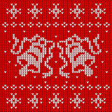 Red knitted sweater with two bells. Seamless pattern, vector illustration Royalty Free Stock Image
