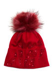 Red knitted winter hat Stock Image
