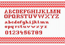Red knitting alphabet on white background Royalty Free Stock Photo