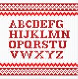 Red knitting alphabet on white background Royalty Free Stock Photo