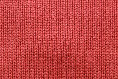 Red knitting wool texture for pattern and background Royalty Free Stock Photos