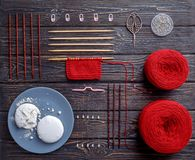Knolling knitting yarn Stock Image