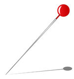 Red Knob Pin. A red knob pin with shadow all over a white background Royalty Free Stock Images