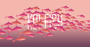 Red koi-fish vector illustration for header, Royalty Free Stock Photo