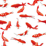 Red koi fishes seamless vector print Stock Photo