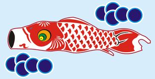 Red koinobori Stock Image