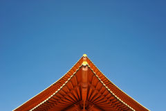 Red Korean Temple Roof and the Blue Sky Royalty Free Stock Photo