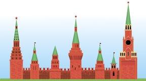 Red Kremlin arranged horizontally on the grass Royalty Free Stock Photo