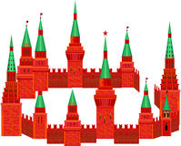 Red Kremlin are in the form of a circle on a white background. F Stock Photo
