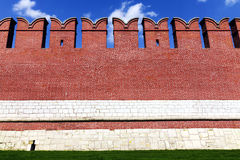 Red Kremlin wall in the city of Tula, Russia Royalty Free Stock Photography