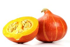 Red kuri squash. Isolated on white background Royalty Free Stock Photo