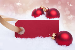 Red Label as Christmas Background Stock Photography