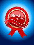 Red label on blue background Stock Photo
