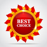 Red label in form of the sun. Best choice. Red label in the form of the sun Royalty Free Stock Images