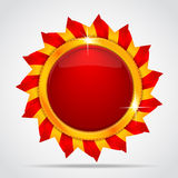 Red label in form of the sun. Best choice. Red label in the form of the sun Royalty Free Stock Image