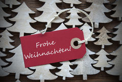 Red Label Frohe Weihnachten Mean Merry Christmas Stock Images