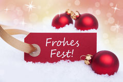 Red Label with Frohes Fest Stock Photos