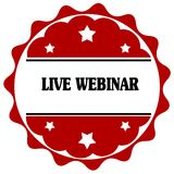 Red label with LIVE WEBINAR text. Stock Images