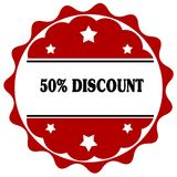 Red label with 50 PERCENT DISCOUNT text. Royalty Free Stock Images