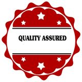 Red label with QUALITY ASSURED text. Illustration graphic design concept image Royalty Free Stock Photography