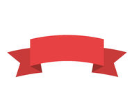 Red label with ribbon on gradient Royalty Free Stock Photo