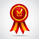 Red label with ribbon. Vector illustration Royalty Free Stock Photos