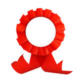 Red label with ribbons. Royalty Free Stock Photos