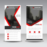 Red label roll up business brochure flyer banner design , cover presentation abstract geometric background, modern publication Royalty Free Stock Photo