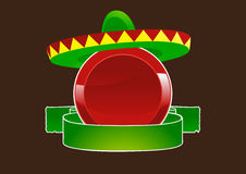Red label with sombrero vector illustration