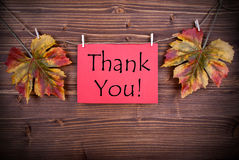 Red Label with Thank You Stock Images