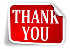 Free Red Label With The Words Thank You Royalty Free Stock Photography - 36496187