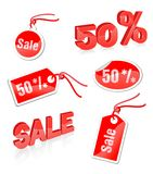Red labels. Set of red labels to sale Royalty Free Stock Photo