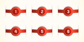 Red labels. Labels with numbers, red stickers Royalty Free Stock Images