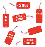 Red labels Stock Images