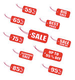 Red labels. Red sale labels vector illustration Royalty Free Stock Photos